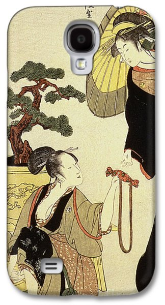 Laundry Paintings Galaxy S4 Cases - Comparison of celebrated beauties and the loyal league Galaxy S4 Case by Kitagawa Utamaro