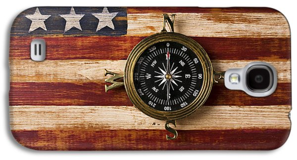 Road Travel Galaxy S4 Cases - Compass on wooden folk art flag Galaxy S4 Case by Garry Gay