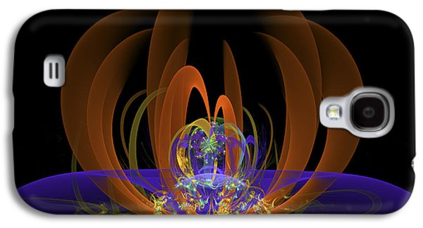 Abstract Digital Art Galaxy S4 Cases - Computer generated Art Digital Fractal Abstract Orange Blue Black Galaxy S4 Case by Keith Webber Jr