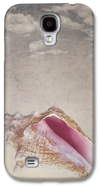 Manuscript Galaxy S4 Cases - Conch shell on vintage background Galaxy S4 Case by Jane Rix