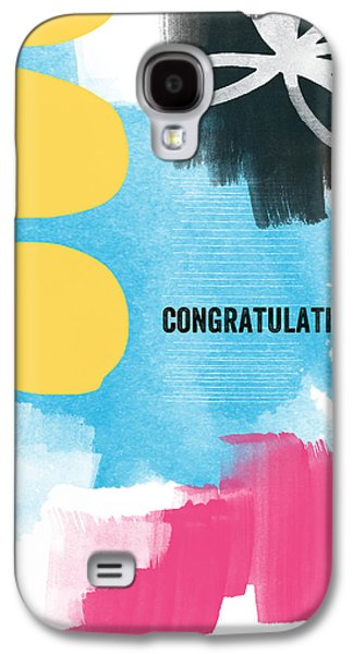 Blue Abstracts Mixed Media Galaxy S4 Cases - Congratulations- abstract art greeting card Galaxy S4 Case by Linda Woods