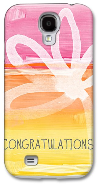 Celebration Mixed Media Galaxy S4 Cases - Congratulations- Greeting Card Galaxy S4 Case by Linda Woods
