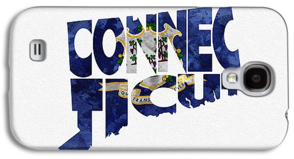 New Britain Galaxy S4 Cases - Connecticut Typographic Map Flag Galaxy S4 Case by Ayse Deniz