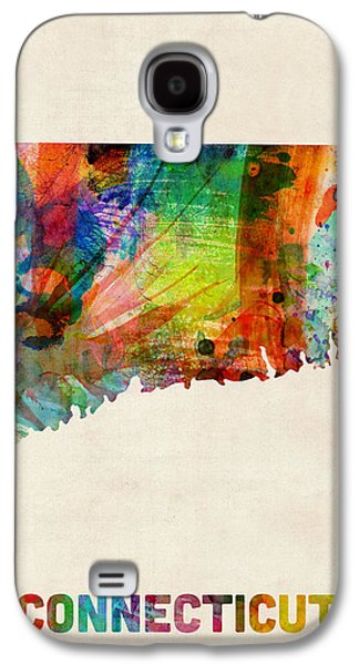 Cartography Digital Art Galaxy S4 Cases - Connecticut Watercolor Map Galaxy S4 Case by Michael Tompsett