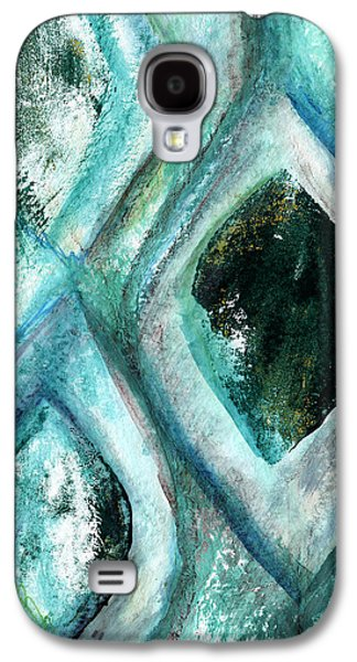 Contemporary Abstract Mixed Media Galaxy S4 Cases - Contemporary Abstract- Teal Drops Galaxy S4 Case by Linda Woods