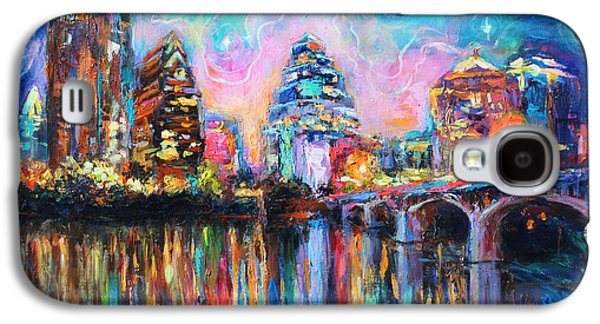 Contemporary Abstract Drawings Galaxy S4 Cases - Contemporary Downtown Austin Art painting Night Skyline Cityscape painting Texas Galaxy S4 Case by Svetlana Novikova