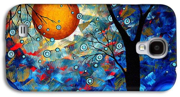 Contemporary Modern Art Original Abstract Landscape Painting Blue Essence By Megan Duncanson Galaxy S4 Case by Megan Duncanson