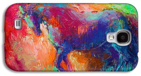 Contemporary Abstract Drawings Galaxy S4 Cases - Contemporary vibrant horse painting Galaxy S4 Case by Svetlana Novikova