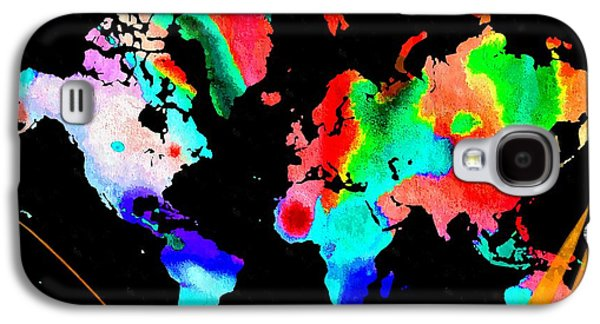 America The Continent Mixed Media Galaxy S4 Cases - Continents Watercolor Galaxy S4 Case by Daniel Janda