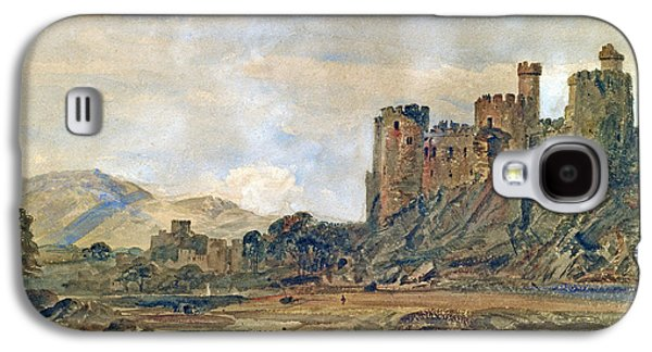 Mountainous Paintings Galaxy S4 Cases - Conway Castle Galaxy S4 Case by Peter de Wint