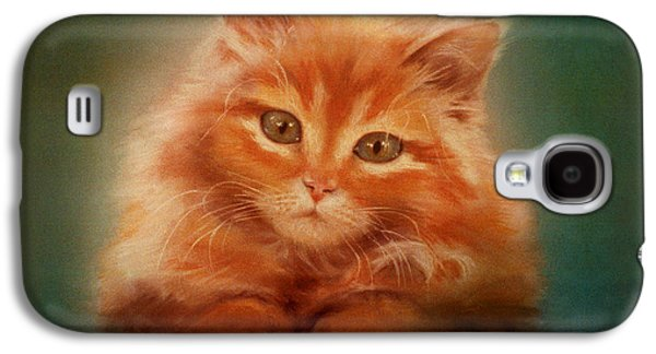 Orange Pastels Galaxy S4 Cases - Copper-colored Kitty Galaxy S4 Case by Evie Cook