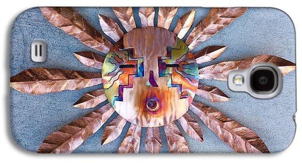 Sun Sculptures Galaxy S4 Cases - Copper Tiki Sun Mask Galaxy S4 Case by Melody Ballard