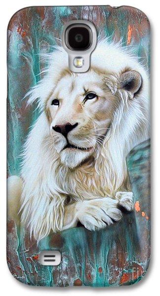 Copper Galaxy S4 Cases - Copper White Lion Galaxy S4 Case by Sandi Baker