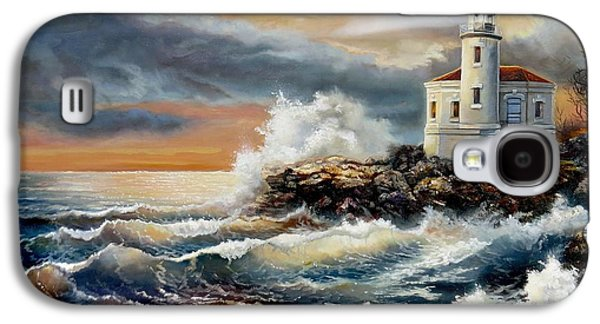 Park Scene Paintings Galaxy S4 Cases - Coquille River Lighthouse at HighTide Galaxy S4 Case by Gina Femrite