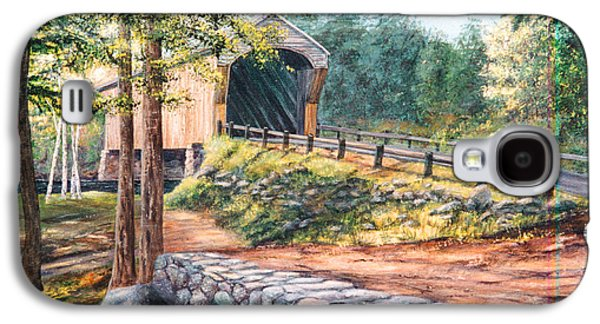 Covered Bridge Paintings Galaxy S4 Cases - Corbin Covered Bridge Galaxy S4 Case by Elaine Farmer