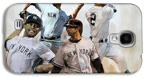 Street Drawings Galaxy S4 Cases - Core VII Derek Jeter Mariano Rivera  Andy Pettitte Jorge Posada Galaxy S4 Case by Iconic Images Art Gallery David Pucciarelli