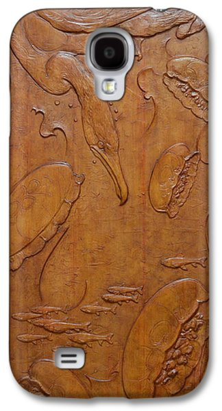 Bas Relief Reliefs Galaxy S4 Cases - Cormorant And Moon Jellyfish - Yokojikkengawa River Galaxy S4 Case by Jeremiah Welsh