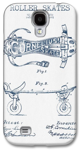 Antique Skates Galaxy S4 Cases - Cornelius Roller Skate Patent Drawing from 1881  - Blue Ink Galaxy S4 Case by Aged Pixel