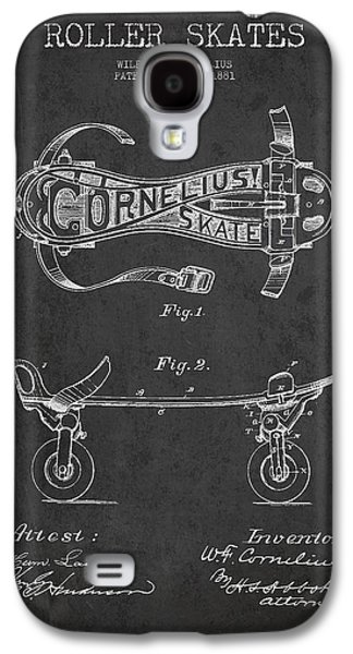 Antique Skates Galaxy S4 Cases - Cornelius Roller Skate Patent Drawing from 1881 - Dark Galaxy S4 Case by Aged Pixel