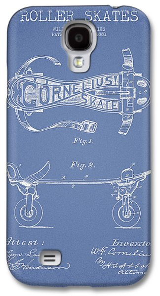 Antique Skates Galaxy S4 Cases - Cornelius Roller Skate Patent Drawing from 1881 - Light Blue Galaxy S4 Case by Aged Pixel