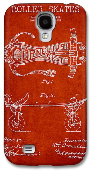 Antique Skates Galaxy S4 Cases - Cornelius Roller Skate Patent Drawing from 1881 - Red Galaxy S4 Case by Aged Pixel