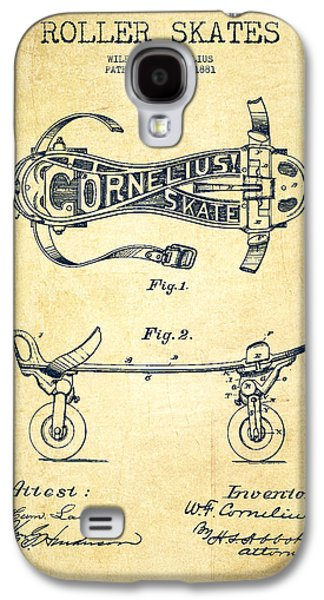 Antique Skates Galaxy S4 Cases - Cornelius Roller Skate Patent Drawing from 1881 - Vintage Galaxy S4 Case by Aged Pixel