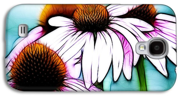 Abstracted Coneflowers Digital Galaxy S4 Cases - Aqua and The Coneflowers Galaxy S4 Case by Sherry Wyne