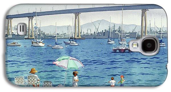 California Beaches Galaxy S4 Cases - Coronado Beach and Navy Ships Galaxy S4 Case by Mary Helmreich