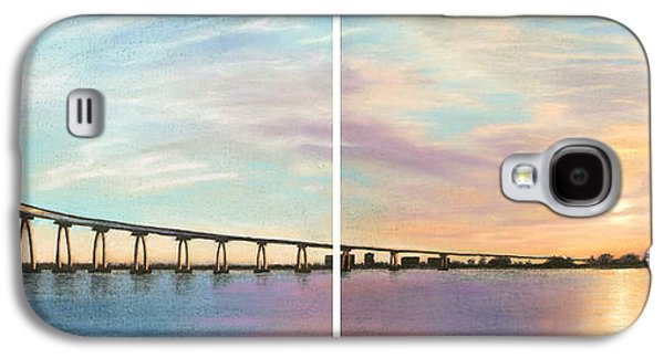 Skylines Pastels Galaxy S4 Cases - Coronado Bridge Sunset Diptych Galaxy S4 Case by Michael Heikkinen