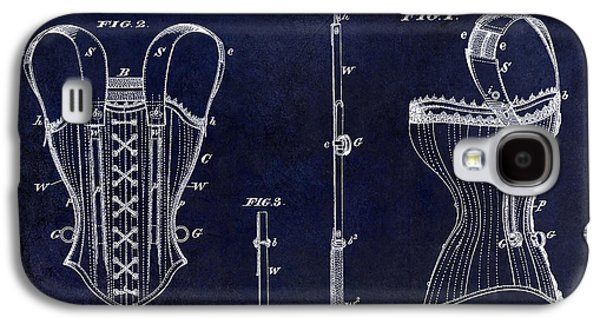 1874 Galaxy S4 Cases - 1874 Corsets Patent Blue Galaxy S4 Case by Jon Neidert