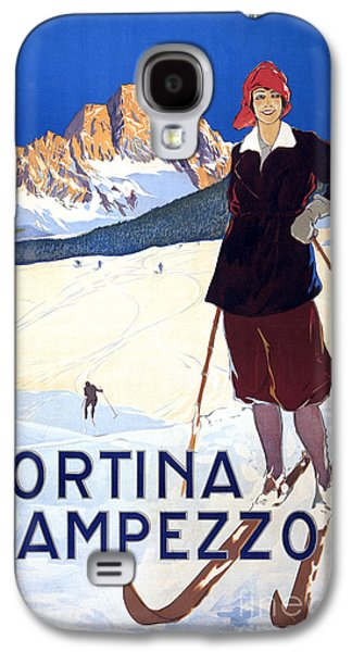 Skiing Posters Paintings Galaxy S4 Cases - Cortina dAmpezzo - travel poster for ENIT - 1920 Galaxy S4 Case by Pablo Romero