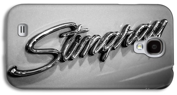 Americans Galaxy S4 Cases - Corvette Stingray Emblem Black and White Picture Galaxy S4 Case by Paul Velgos
