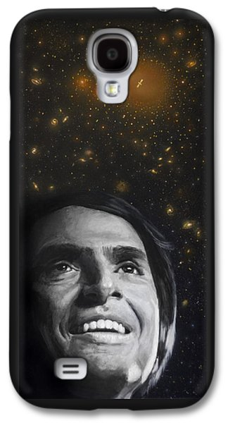 Portrait Paintings Galaxy S4 Cases - Cosmos- Carl Sagan Galaxy S4 Case by Simon Kregar