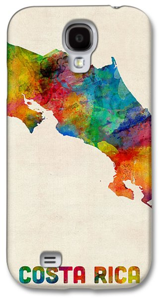 Map Galaxy S4 Cases - Costa Rica Watercolor Map Galaxy S4 Case by Michael Tompsett