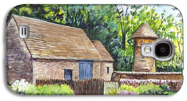 Garden Scene Drawings Galaxy S4 Cases - Cotswold Barn Galaxy S4 Case by Carol Wisniewski