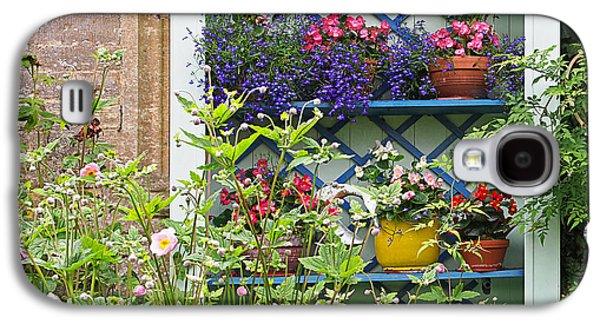 Garden Scene Galaxy S4 Cases - Cottage Garden Flower Pots Galaxy S4 Case by Gill Billington