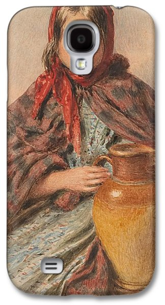 Three Quarter Length Galaxy S4 Cases - Cottage girl seated with a pitcher Galaxy S4 Case by William Henry Hunt