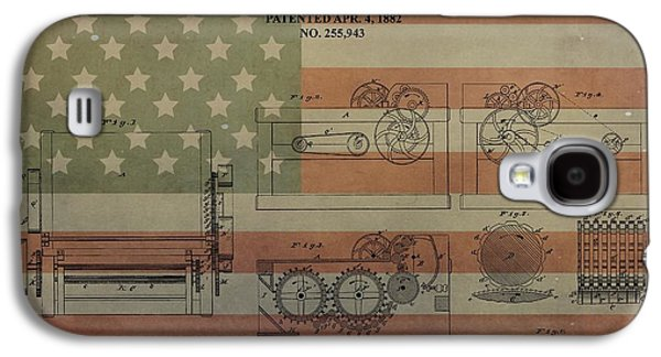Slavery Mixed Media Galaxy S4 Cases - Cotton Gin Patent Aged American Flag Galaxy S4 Case by Dan Sproul