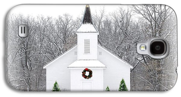 Snow Landscape Galaxy S4 Cases - Country Christmas Church Galaxy S4 Case by Carol Sweetwood