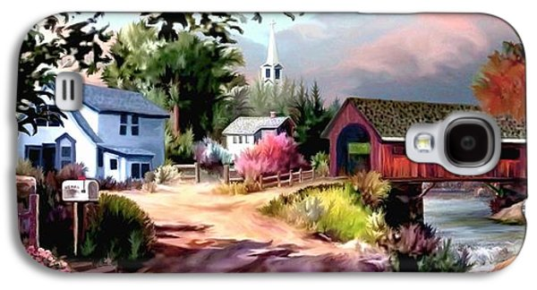 Covered Bridge Paintings Galaxy S4 Cases - Country Covered Bridge II Galaxy S4 Case by Ronald Chambers