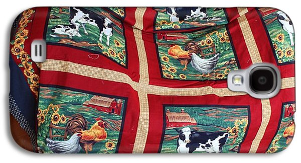 Block Quilts Tapestries - Textiles Galaxy S4 Cases - Country Cows and Roosters Quilt Galaxy S4 Case by Barbara Griffin