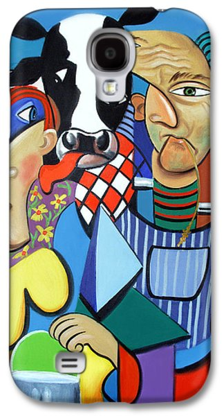 Green Framed Prints Digital Art Galaxy S4 Cases - Country Cubism Galaxy S4 Case by Anthony Falbo