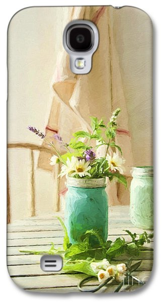 Country Kitchen With Wild Flowers In Jar/ Digital Painting Galaxy S4 Case by Sandra Cunningham