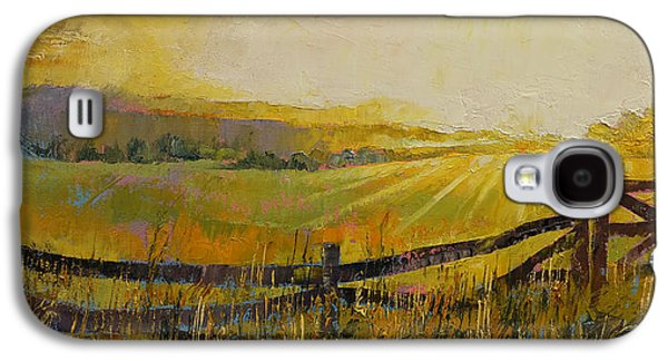 Sun Rays Paintings Galaxy S4 Cases - Country Meadow Galaxy S4 Case by Michael Creese