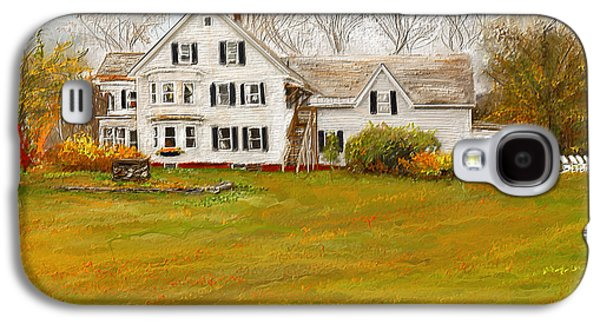 Autumn Scene Galaxy S4 Cases - Country Moments-Farmhouse in Woodstock Vermont Galaxy S4 Case by Lourry Legarde