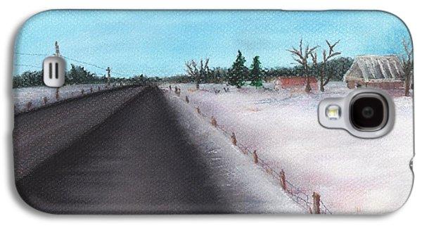 Winter Scene Pastels Galaxy S4 Cases - Country Road Galaxy S4 Case by Anastasiya Malakhova