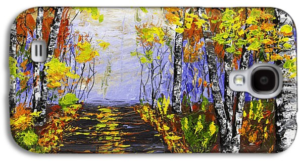 Woodlands Scene Paintings Galaxy S4 Cases - Country Road And Birch Trees In Fall Galaxy S4 Case by Keith Webber Jr