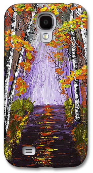 Country Dirt Roads Galaxy S4 Cases - Country Road And Birch Trees In Fall Painting Galaxy S4 Case by Keith Webber Jr