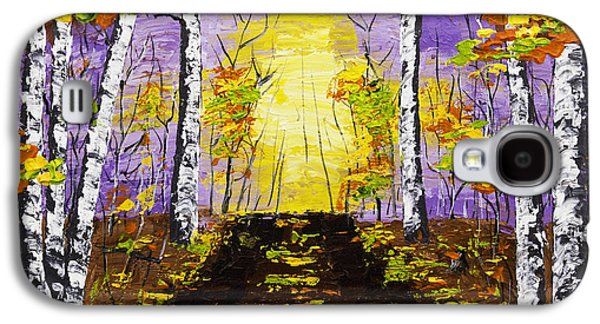 Woodlands Scene Paintings Galaxy S4 Cases - Country Road And Coloful Birch Trees In Fall Galaxy S4 Case by Keith Webber Jr
