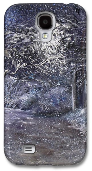 Winter Scene Pastels Galaxy S4 Cases - Country Road on a Wintery Night Galaxy S4 Case by Jack Skinner